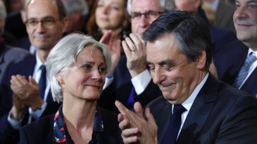 Conservative French presidential candidate Francois Fillon in January with his wife Penelope Fillon.