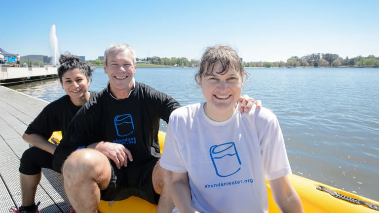 Runners up in the inaugural Lake Burley Griffin Water Week Challenge Cup Neha Pathak, Mike Goodyer, and Sophie Gulliver.