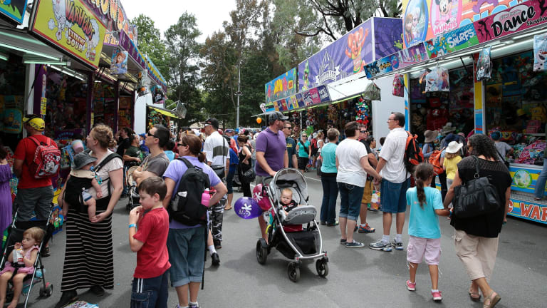 Sideshow alley at the Royal Canberra Show in 2016.