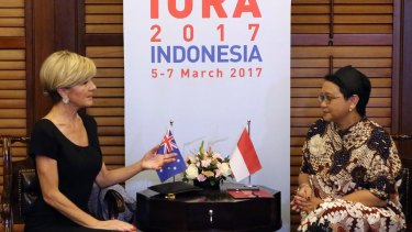 Foreign Minister Julie Bishop talks with her Indonesian counterpart Retno Marsudi during their meeting in Jakarta.