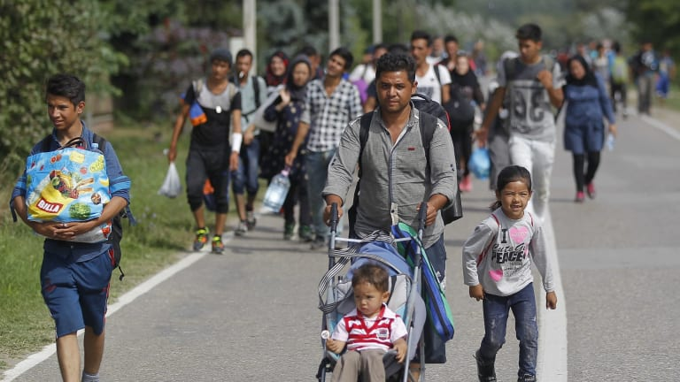 Migrants walk down the motorway toward buses which will take them to Croatia at the Horgos border crossing with Hungary in Serbia.