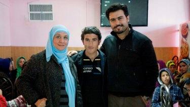 Mahboba Rawi, Abdulfattah Akbari, and Amin Palangi during the filming of Love Marriage in Kabul.