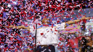 Confetti rain on Bongbong Marcos as he is introduced to supporters on his last campaign rally last week.