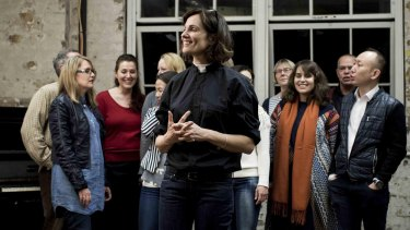 Catherine McClements and the choir in The Events.