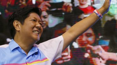 Vice presidential candidate Bongbong Marcos on his last campaign rally last week.