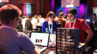 Participants concentrate at the BattleHack 2015 in Melbourne on the weekend.