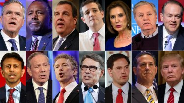 The 2016 Republican presidential candidates who have officially declared their candidacy as of Sunday. Top from left: Jeb Bush, Ben Carson, Chris Christie, Ted Cruz, Carly Fiorina, Lindsey Graham and Mike Huckabee. Bottom from left: Bobby Jindal, George Pataki, Rand Paul, Rick Perry, Marco Rubio, Rick Santorum and Donald Trump.