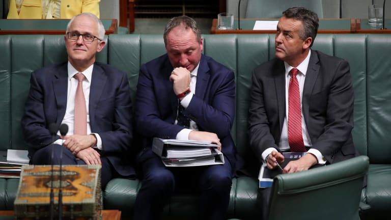 Prime Minister Malcolm Turnbull, Deputy Prime Minister Barnaby Joyce and Transport Minister Darren Chester during question time on Tuesday.