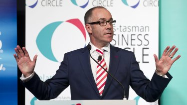 NAB  chief executive Andrew Thorburn addresses the Trans-Tasman Business Circle lunch on Wednesday.