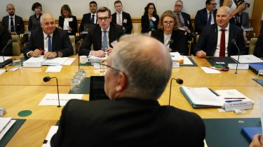 Treasurer Scott Morrison and state treasurers meet at Parliament House on Friday.