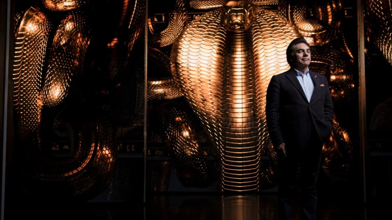 Opera Australia boss Lyndon Terracini in front of the Aida set.