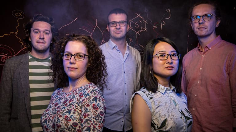 With a global race on to build a quantum computer, the University of Sydney has been investing in infrastructure and partnerships. Quantum physicists (from left) Benjamin Brown, Jacinda Ginges, Kamil Korzekwa, Weiwei Zhang, and Arne Grimsmo.