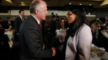Senator Eric Abetz and Karina Okotel at the National Press Club.