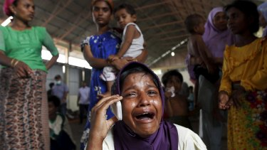 A Rohingya migrant in Kuala Langsa in Indonesia's province of Aceh on Saturday.