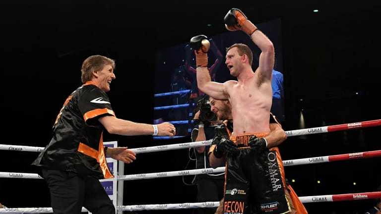 """""""We want the big fights. If we're going to fight him, we may as well fight him while Jeff's in his prime"""": Glenn Rushton rushes to embrace Jeff Horn after the boxer's win over Gary Corcoran."""