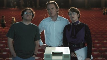 Michael Stuhlbarg (Andy Hertzfeld), Michael Fassbender (Steve Jobs) and Kate Winslet (Joanna Hoffman) in <i>Steve Jobs</i>.