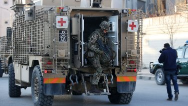 An ambulance near the site of a Taliban attack close to the Spanish Embassy in Kabul last week.