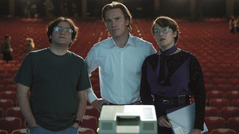 Michael Stuhlbarg (Andy Hertzfeld), Michael Fassbender (Steve Jobs) and Kate Winslet (Joanna Hoffman) in <i>Steve Jobs</i>.
