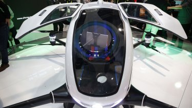 The EHang 184 autonomous aerial vehicle has a top speed of 100km/h, but will cost between $US200,000 ($427,131) to $US300,000 ($427,131).