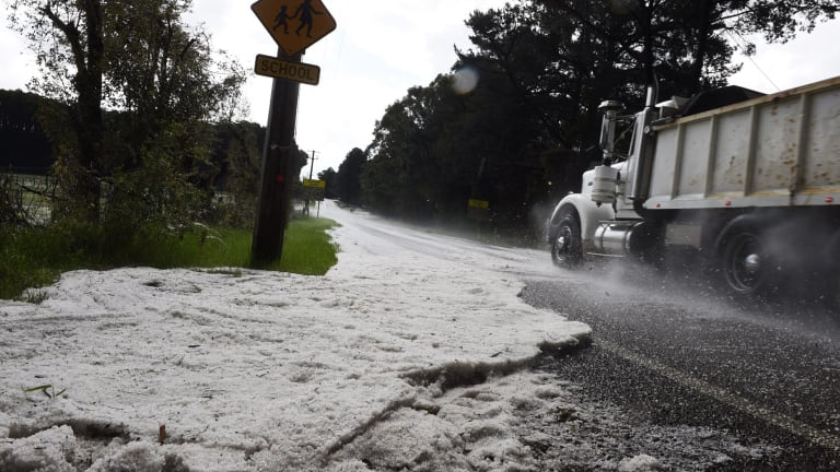 Blankets of white: Hail that fell during a storm at Mangrove Mountain, north of Sydney.