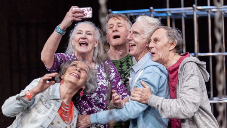 <i>Seventeen</i> is a rite of passage story starring a cast of silver-haired Australian actors including (from left) Anna Volska, Maggie Dence, John Gaden, Peter Carroll and Barry Otto.