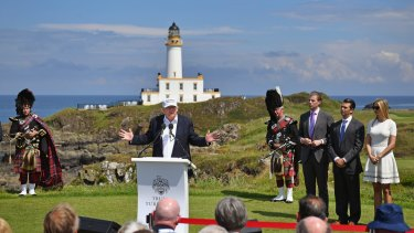Donald Trump reopens Trump Turnberry Resort in Ayr Scotland, with his children Eric Trump,Donald Trump Jr and Ivanka Trump during the US presidential election campaign.