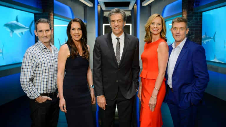 Naomi Simson with her fellow judges on Shark Tank.
