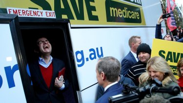 Senator Sam Dastyari on board Bill Shorten's campaign bus in Sydney.