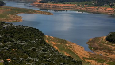 The banks of the Atibainha reservoir, part of the Cantareira System that provides water to Sao Paulo city.
