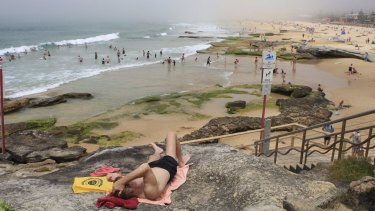 Sea fog descends on Maroubra beach on Sunday.