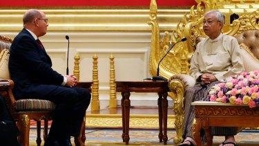 Myanmar's President Htin Kyaw, right, speaks with Urban Ahlin, Speaker of Swedish Parliament, in Naypyitaw, Myanmar. last week.