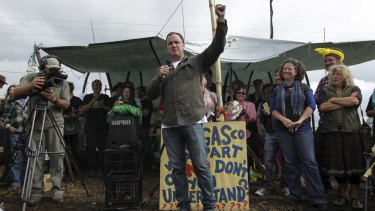 Opponents of Metgasco prevented a drilling rig from entering a rural property at Bentley last year.