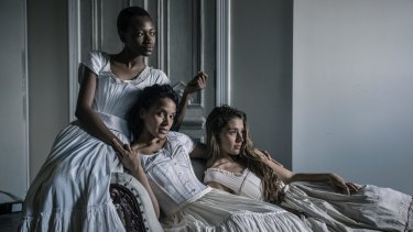 (Left to right) Moreblessing Maturur, Chantelle Jamieson and Rebecca Montalti in <i>Fallen</i>.