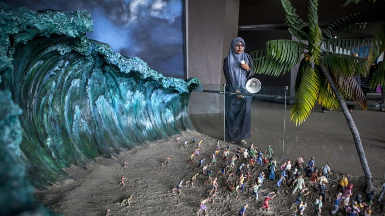 A diorama recreates the horror of 2004 at Aceh's Tsunami museum.