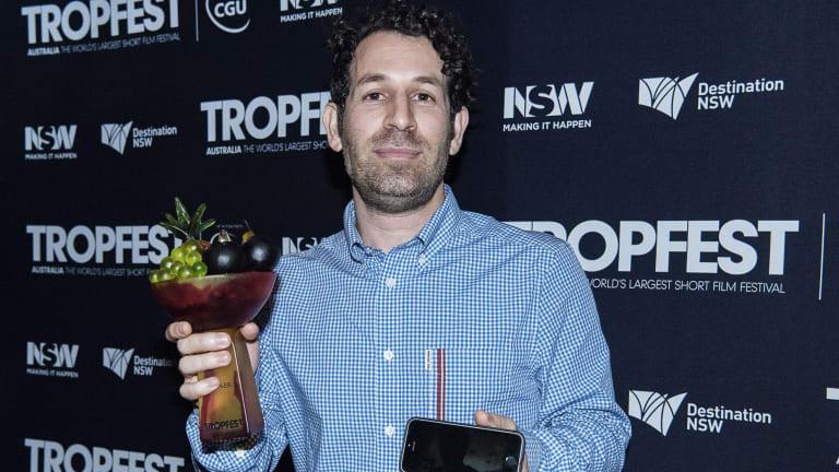 Spencer Susser after winning Tropfest on Sunday night.