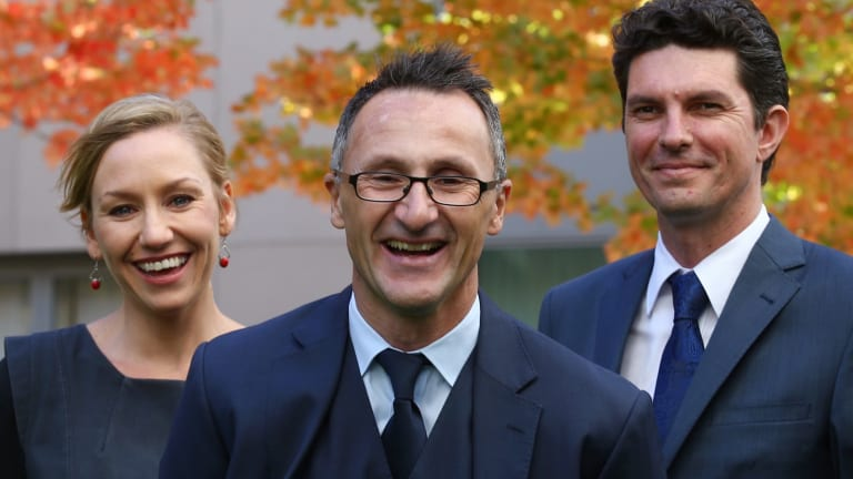 Greens leader Senator Richard Di Natale (centre) has lost his co-deputies Larissa Waters and Scott Ludlam following a citizenship fiasco.