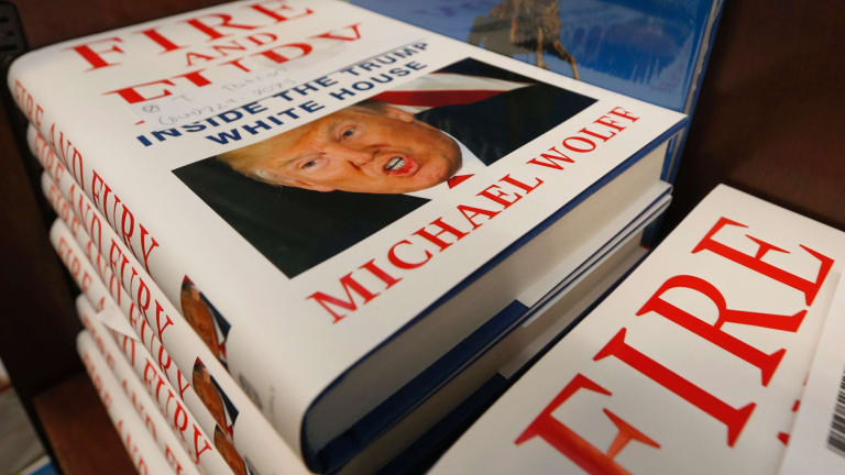 A stack of reserved Fire and Fury books by writer Michael Wolff.