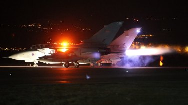 A British Tornado takes off from RAF Akrotiri on Cyprus on December 3.