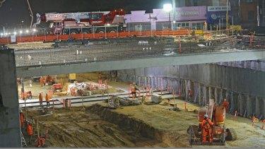 Construction work at Ormond railway station.
