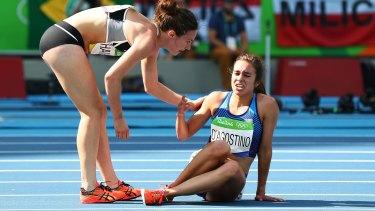 True sportsmanship: Nikki Hamblin, left, checks on American runner Abbey D'Agostino.