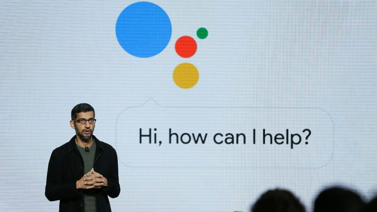 Google chief executive Sundar Pichai talks about Google Assistant in San Francisco in 2016.