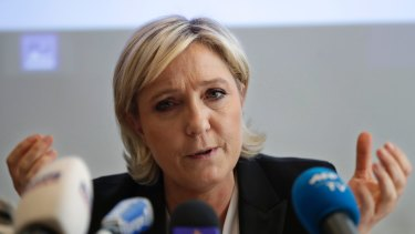 French far-right presidential candidate Marine Le Pen speaks during a press conference in Beirut.