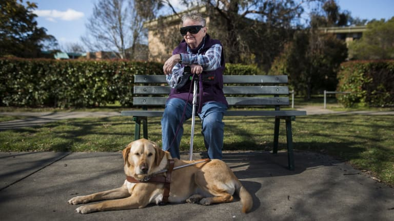 Lyneham resident, Anna Saxon waiting for a bus with her guide dog. She finds it very difficult to get around Canberra and plans to attend the Council on the Ageing forum.