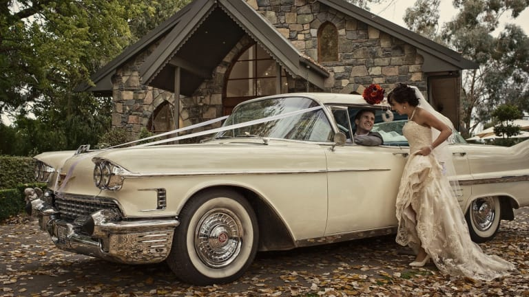A couple wed in an intimate ceremony at Gold Creek Chapel.
