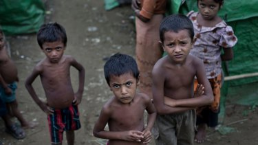 Rohingya children at a refugee camp in Rakhine state in 2014.