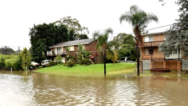 Flooded areas in Milpera, south of Sydney, last week.