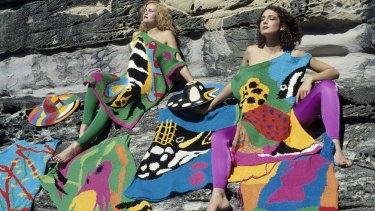 Models wearing Flamingo Park knits including Big Fish dress and hat 1979.