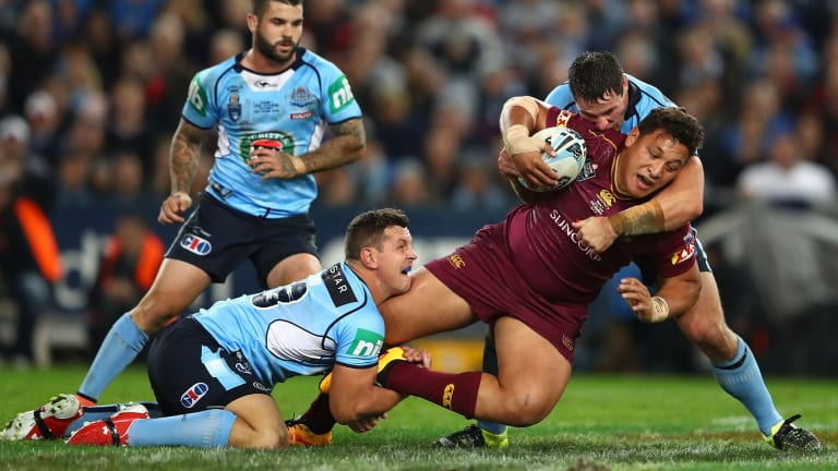 Queensland's Josh Papalii is tackled during Game 1 of the  2016 State of Origin series.