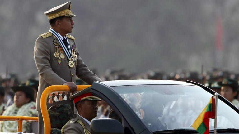 Myanmar commander-in-chief General Min Aung Hlaing says he won't deal directly with Aung Sun Suu Kyi.