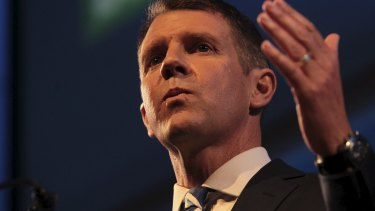 Mike Baird rallies the troops at the Liberal Party campaign launch on Sunday.